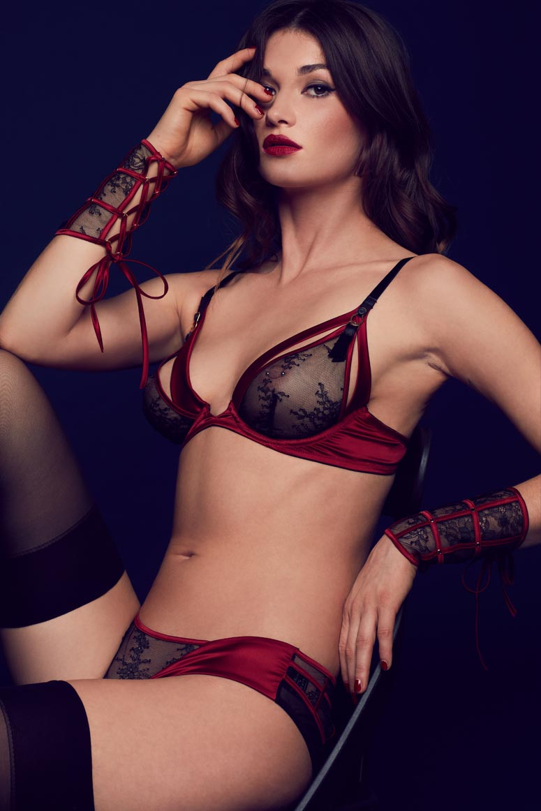 Odette luxury seductive lingerie in red and black lace with boudoir wrist cuffs