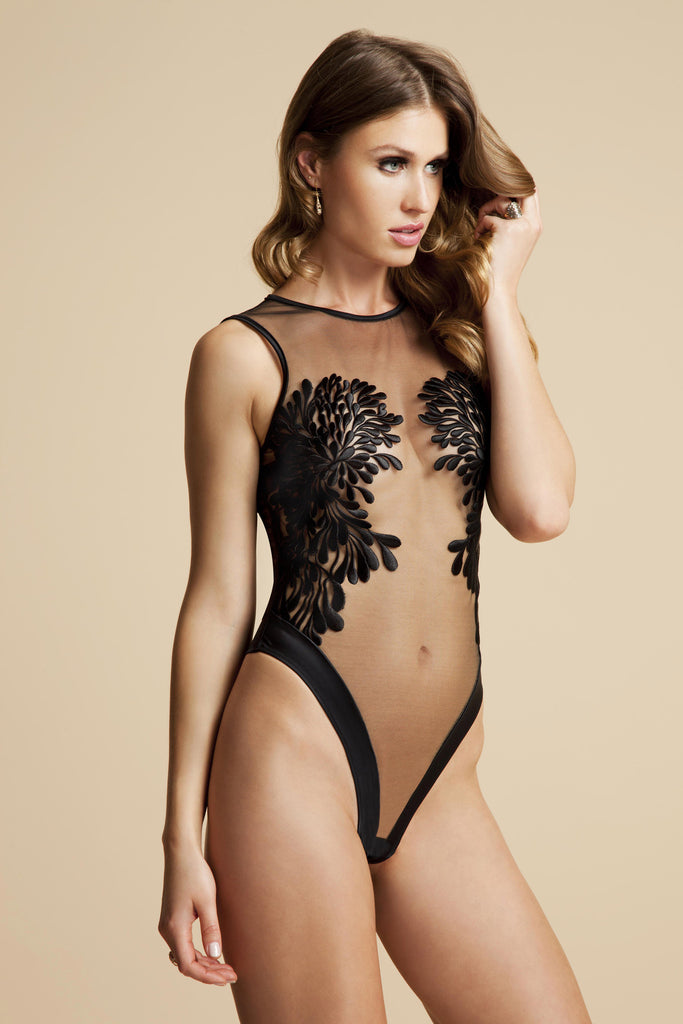 Gabriella black bodysuit with floral embroidery placement