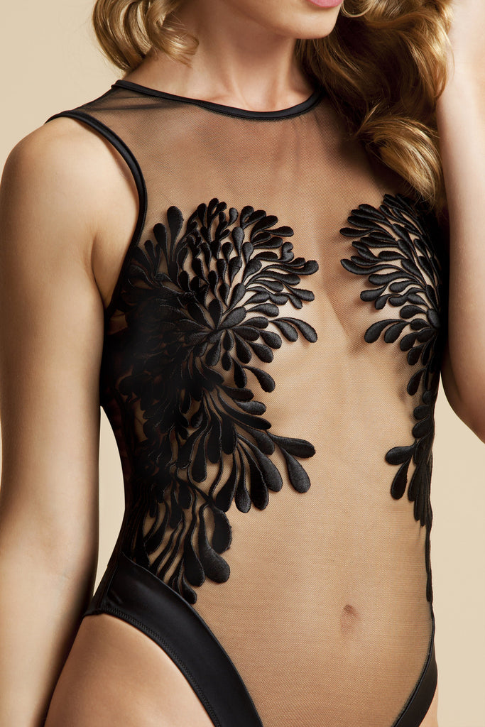 Gabriella Designer bodysuit  with sheer floral embroidery placement