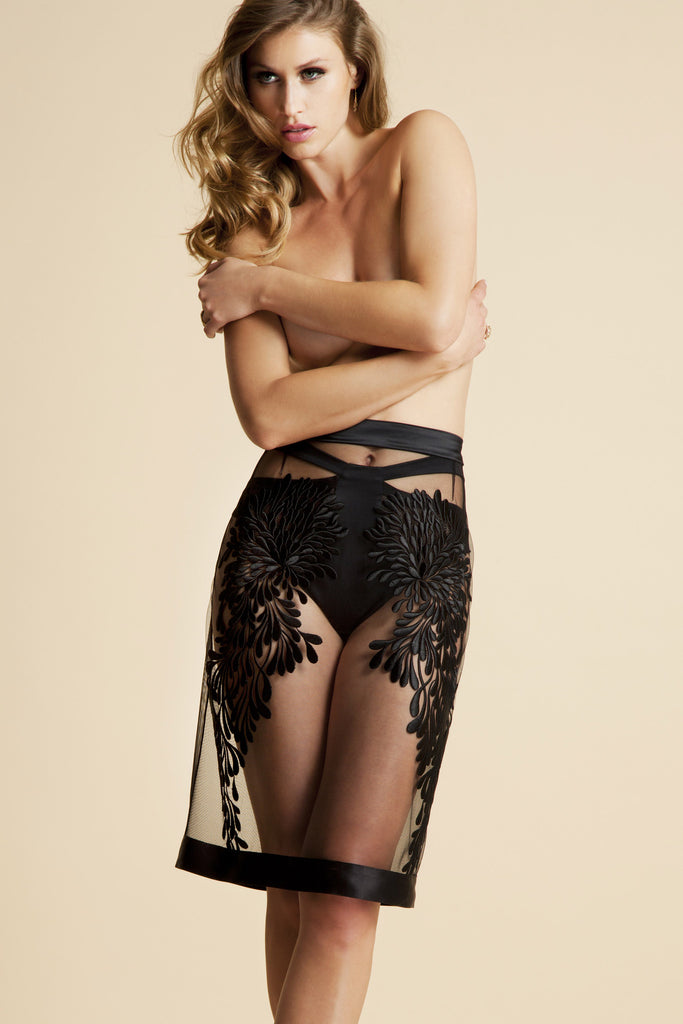 Gabriella embroidered half slip skirt worn with high waisted brief