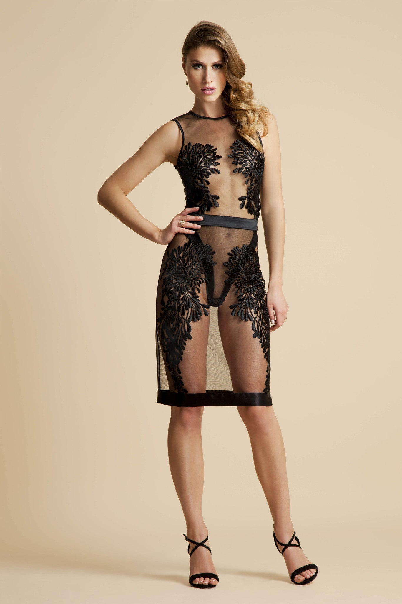 Gabriella sheer embroidery body worn with Gabriella Slip skirt
