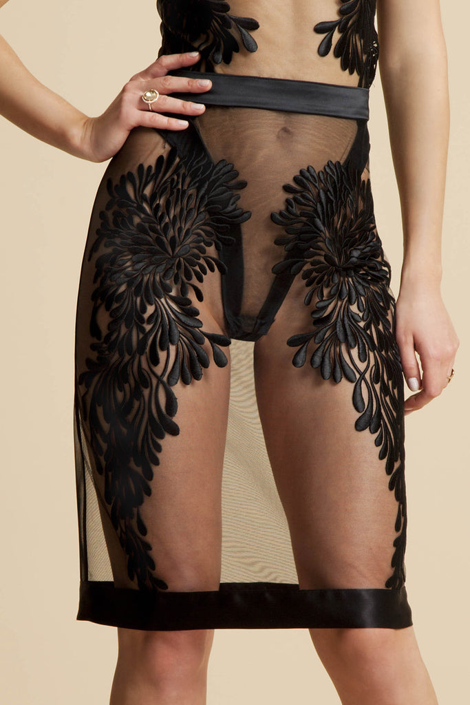 Gabriella black sheer skirt with couture embroidery