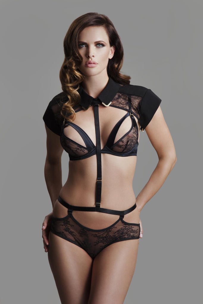 Josephine Collar & body harness with detachable lace brief