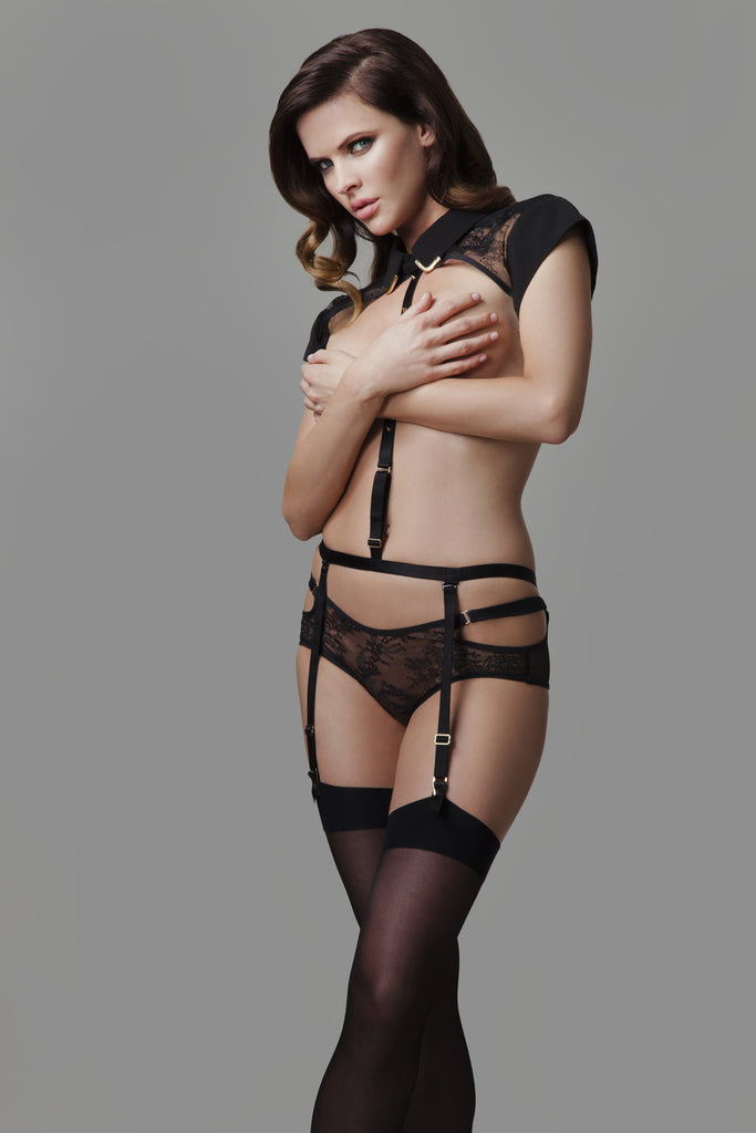Josephine Collar & body Harness luxury bondage lingerie with detachable black lace brief