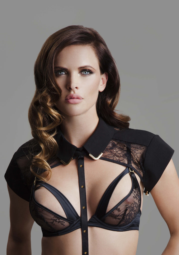 Josephine Lace Collar & Body Harness with Sylvia Peep Bra