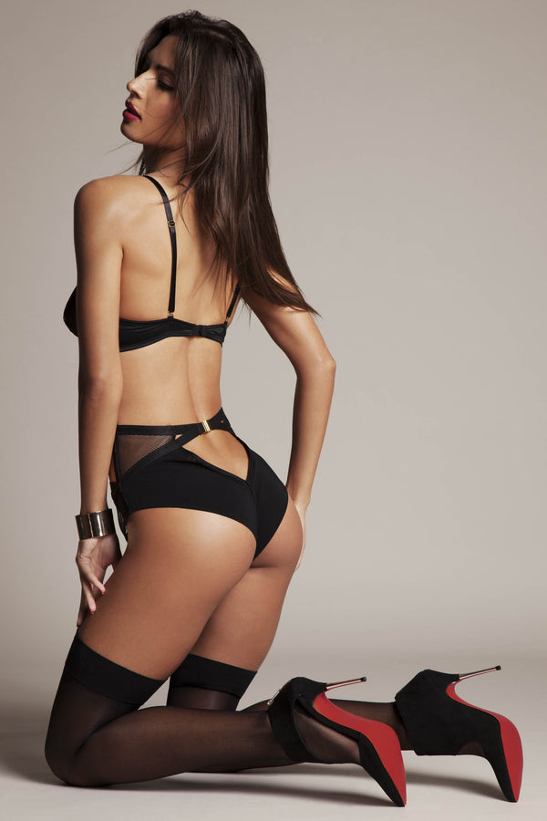 Krystyna high waist panties in luxury satin featuring Brazilian thong back