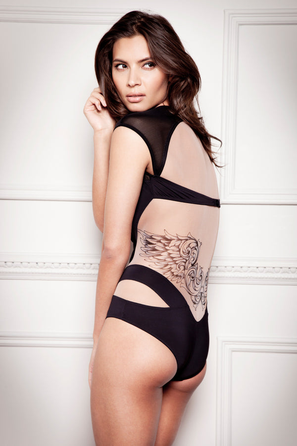 Lana printed tattoo designer bodysuit by Tatu Couture