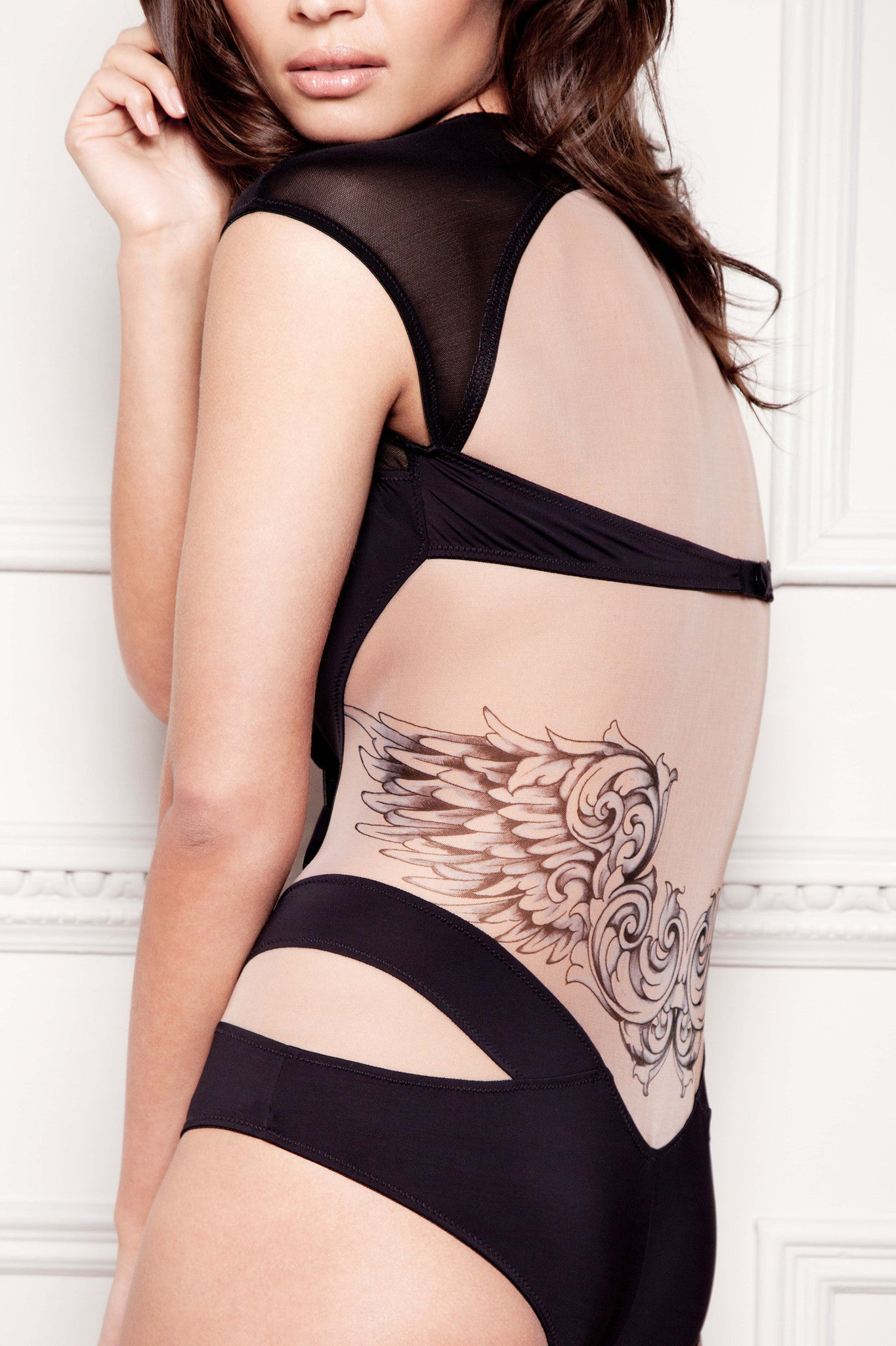 Tatu Couture Lana Bodysuit back view close up on model