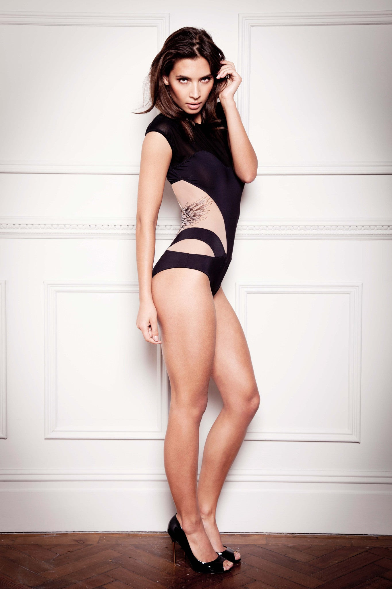 Tatu Couture Lana Bodysuit side view on model