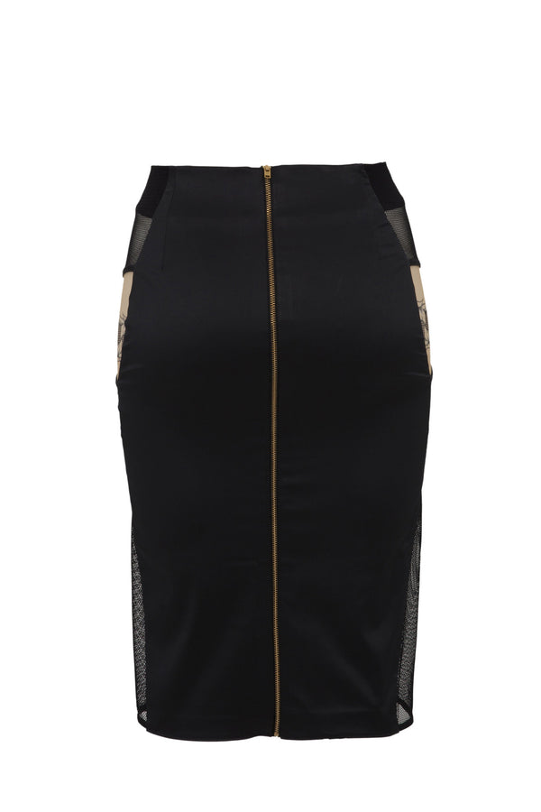 Nadine black pencil skirt with gold zip back