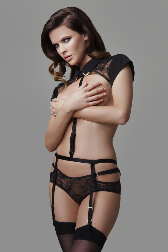 Sylvia black lace brief worn with the Josephine Collar and body harness