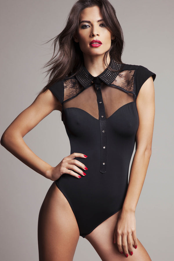 Luxury Black lace bodysuit with Swarovski crystal diamante collar
