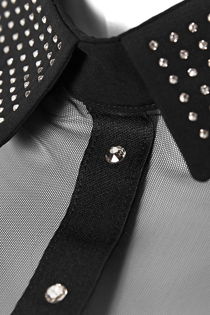 Close up of Anastazia collar bodysuit with Swarovski crystals