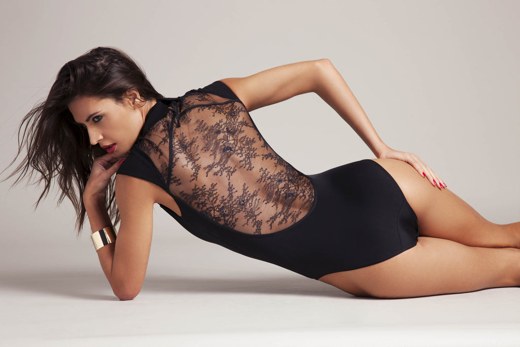 Anastazia black lace bodysuit with Swarovski crystals and sheer lace back.