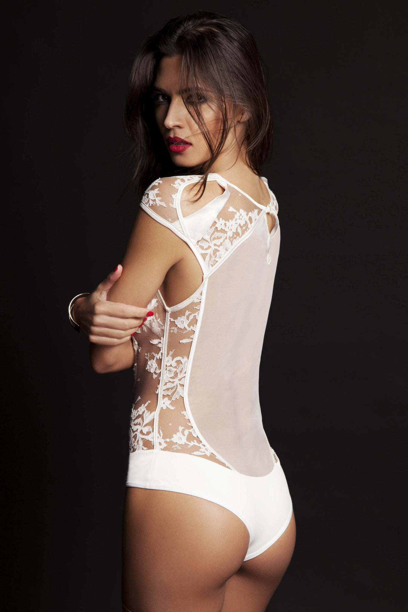 Nadya sheer lace bodysuit with thong back