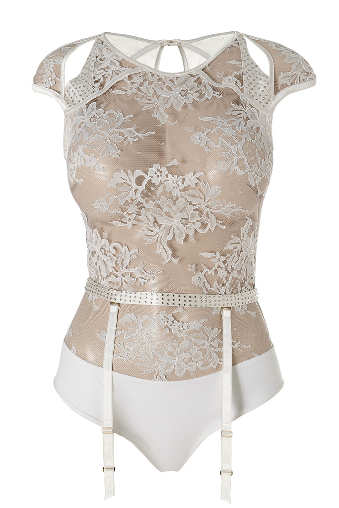 Nadya ivory lace bodysuit and suspender by Tatu Couture