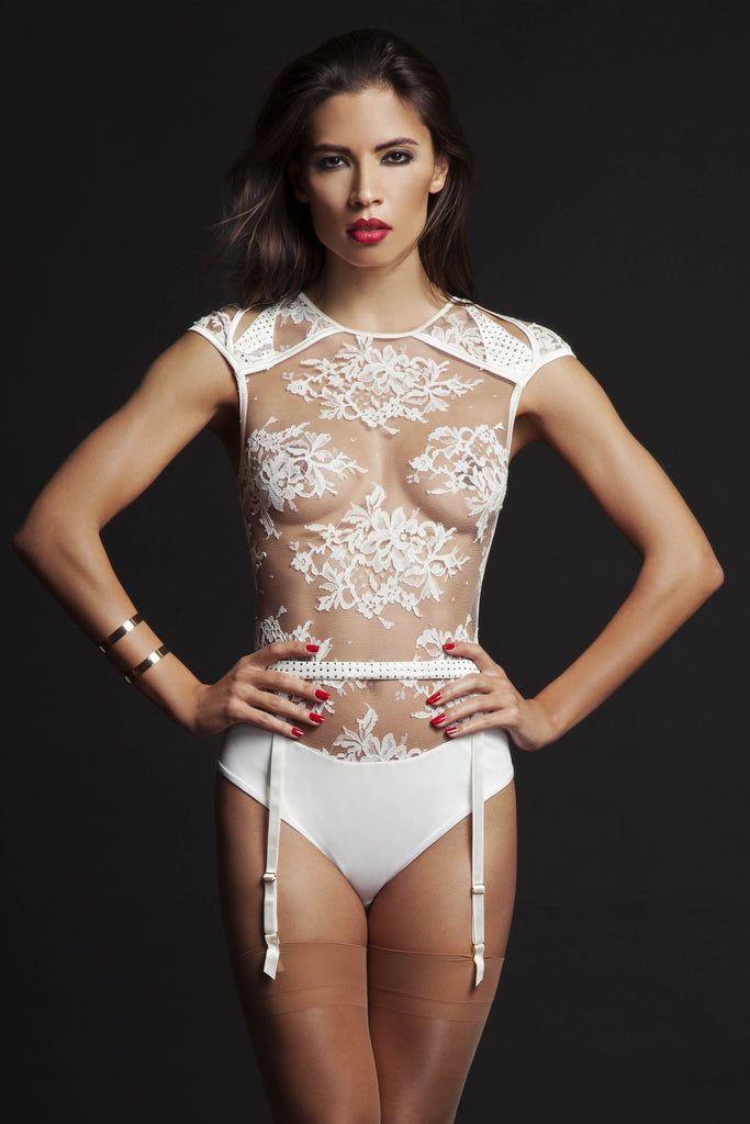 Nadya sheer thong body and suspender by Tatu Couture. Front view on model.