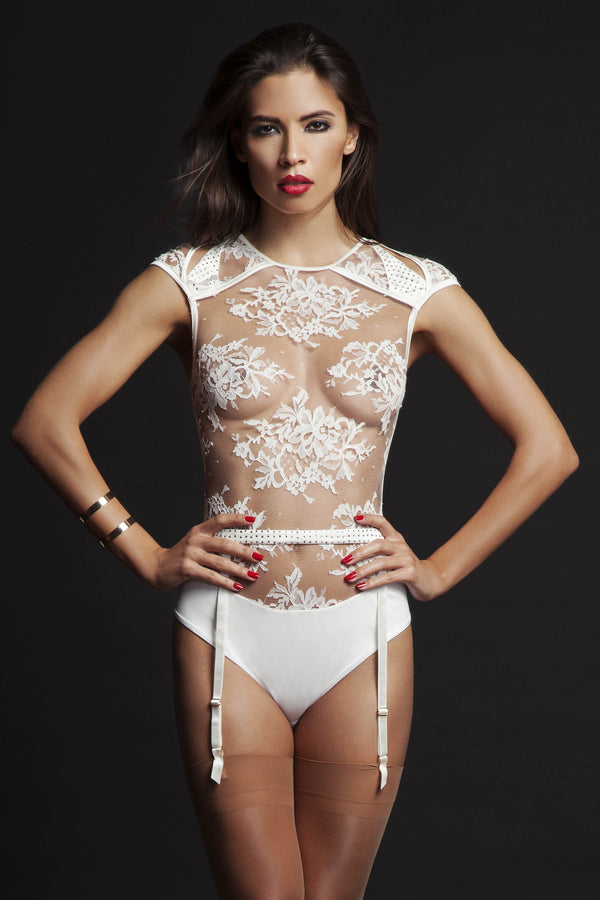 Nadya lace thong bodysuit & Swarovski crystal suspender belt