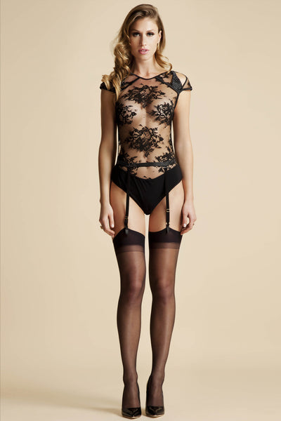 NADYA SHEER THONG BODY & SUSPENDER BELT - FEATURING SWAROVSKI® CRYSTALS