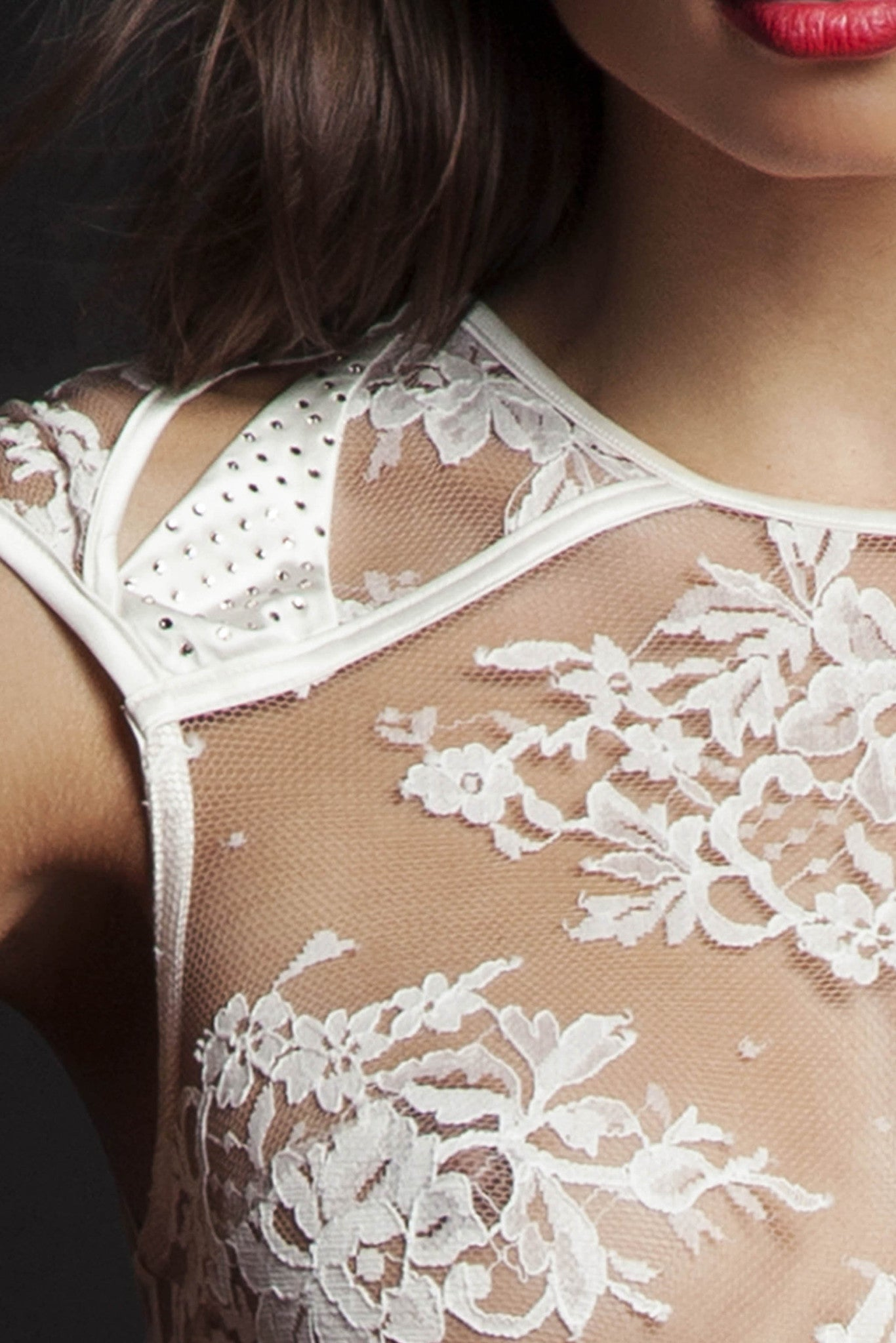 Nadya designer lace bodysuit crafted with Swarovski crystals
