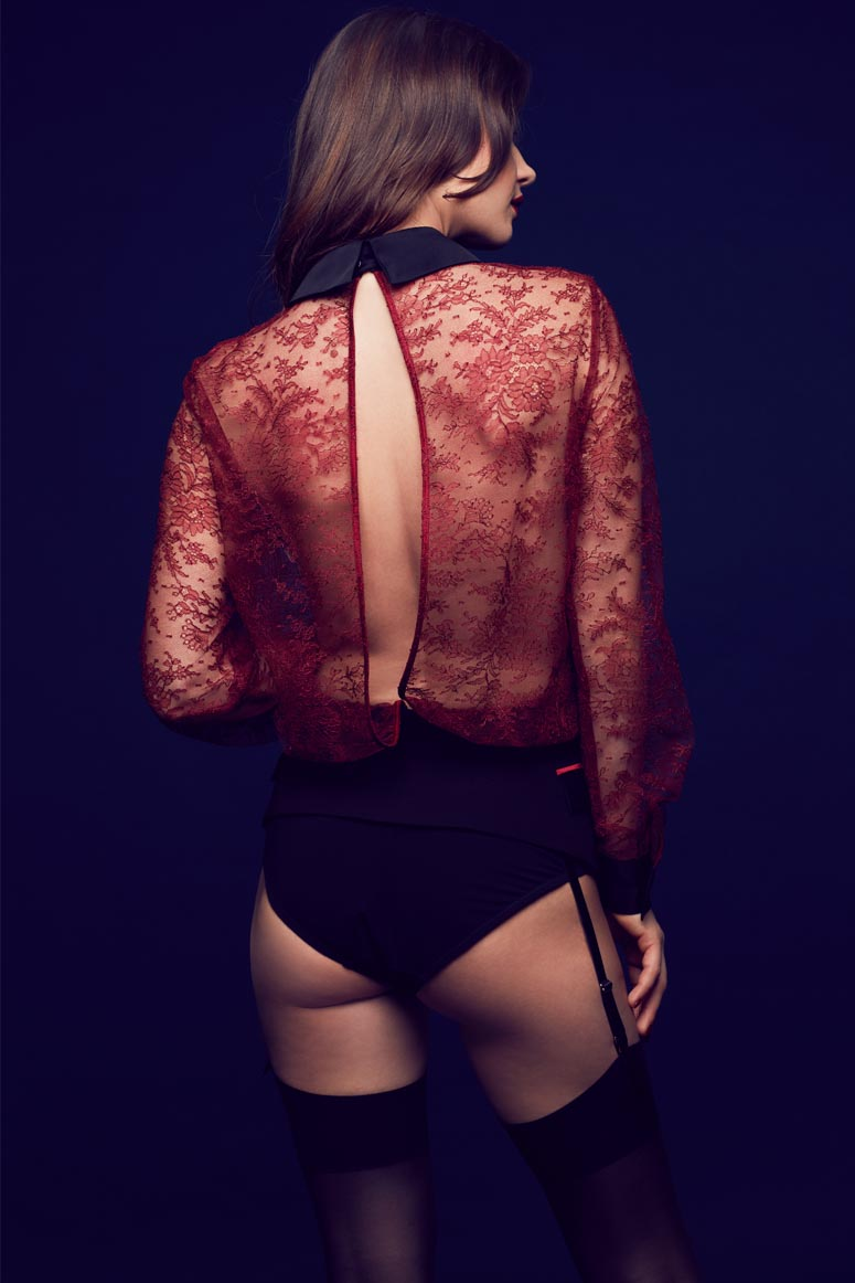 Tatu Couture Celine  Lace Blouse Bodysuit on model