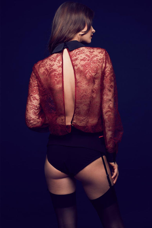 Celine luxury red lace bodysuit blouse with open back detail