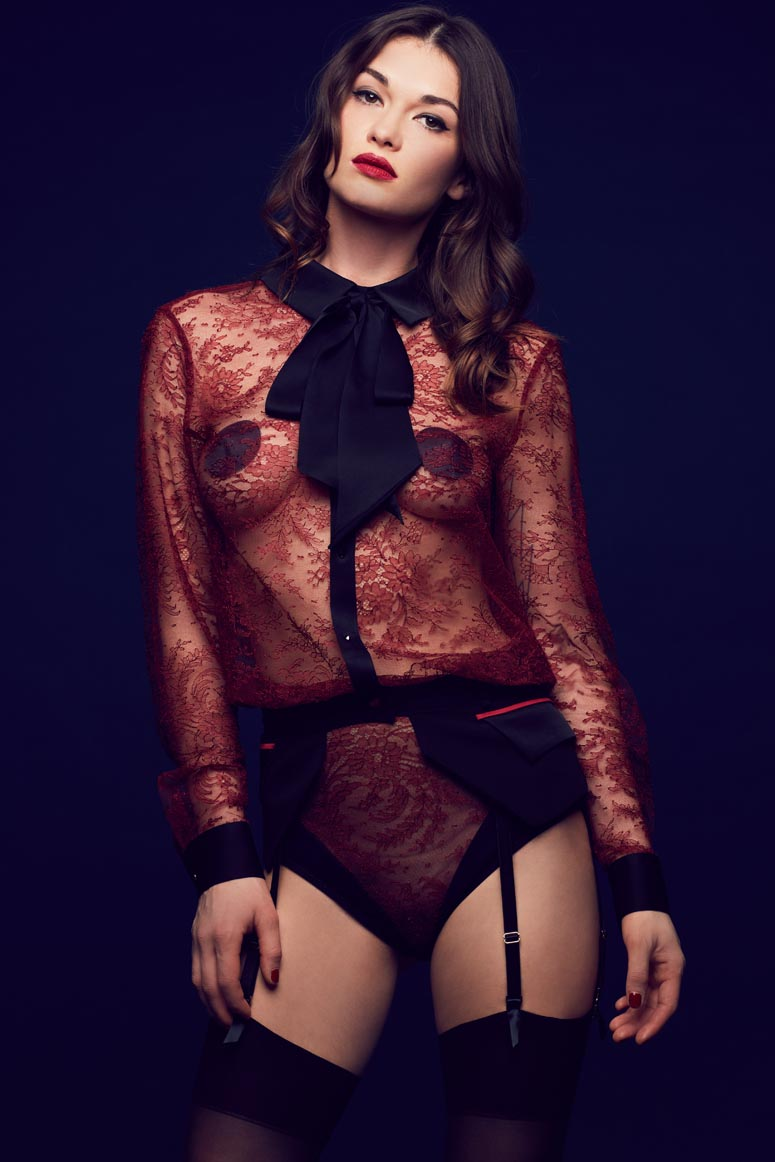 Celine red lace blouse bodysuit with pussy bow collar, worn with suspender belt