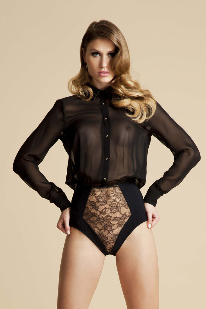Lula Black silk bodysuit blouse with luxury lace brief