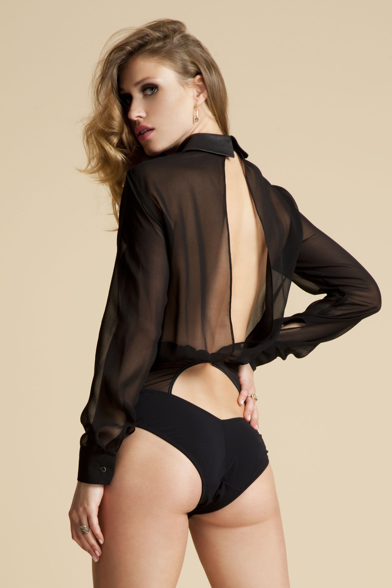 Lula Black blouse bodysuit with long sleeves and open back in sheer black silk