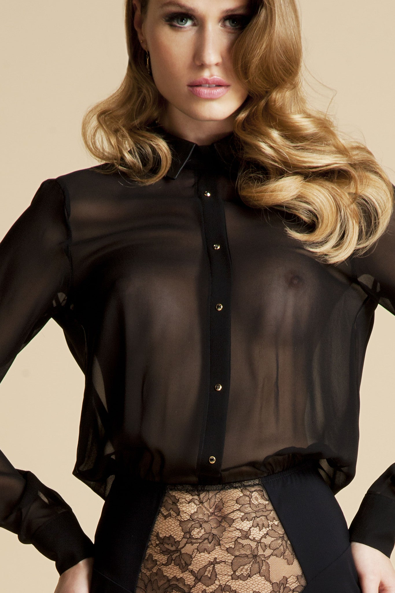 Lula Black sheer bodysuit blouse in black silk with Swarovski crystals