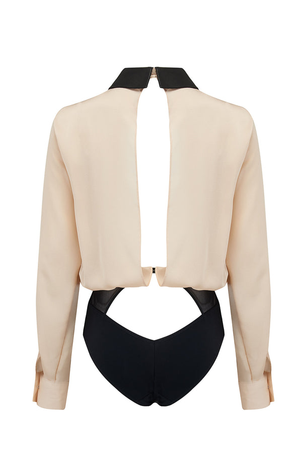 Lula Blush womens bodysuit blouse with open back and contrast black brief
