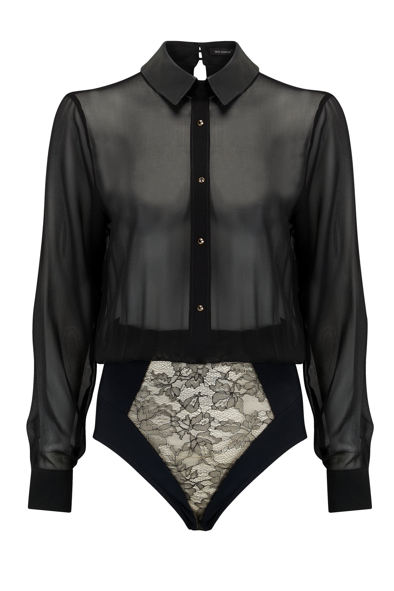 Lula Black sheer bodysuit blouse in black silk with luxury lace brief and crystal detailing