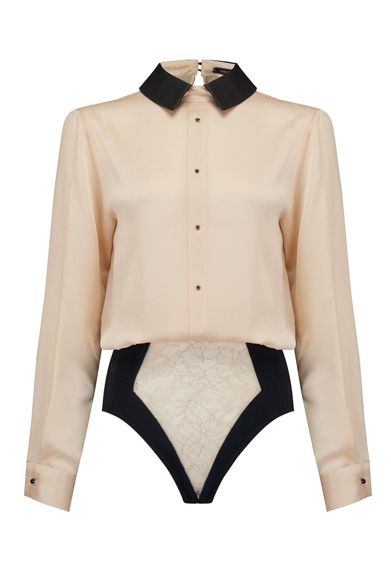 Lula Blush sheer bodysuit blouse in cream silk with luxury lace brief