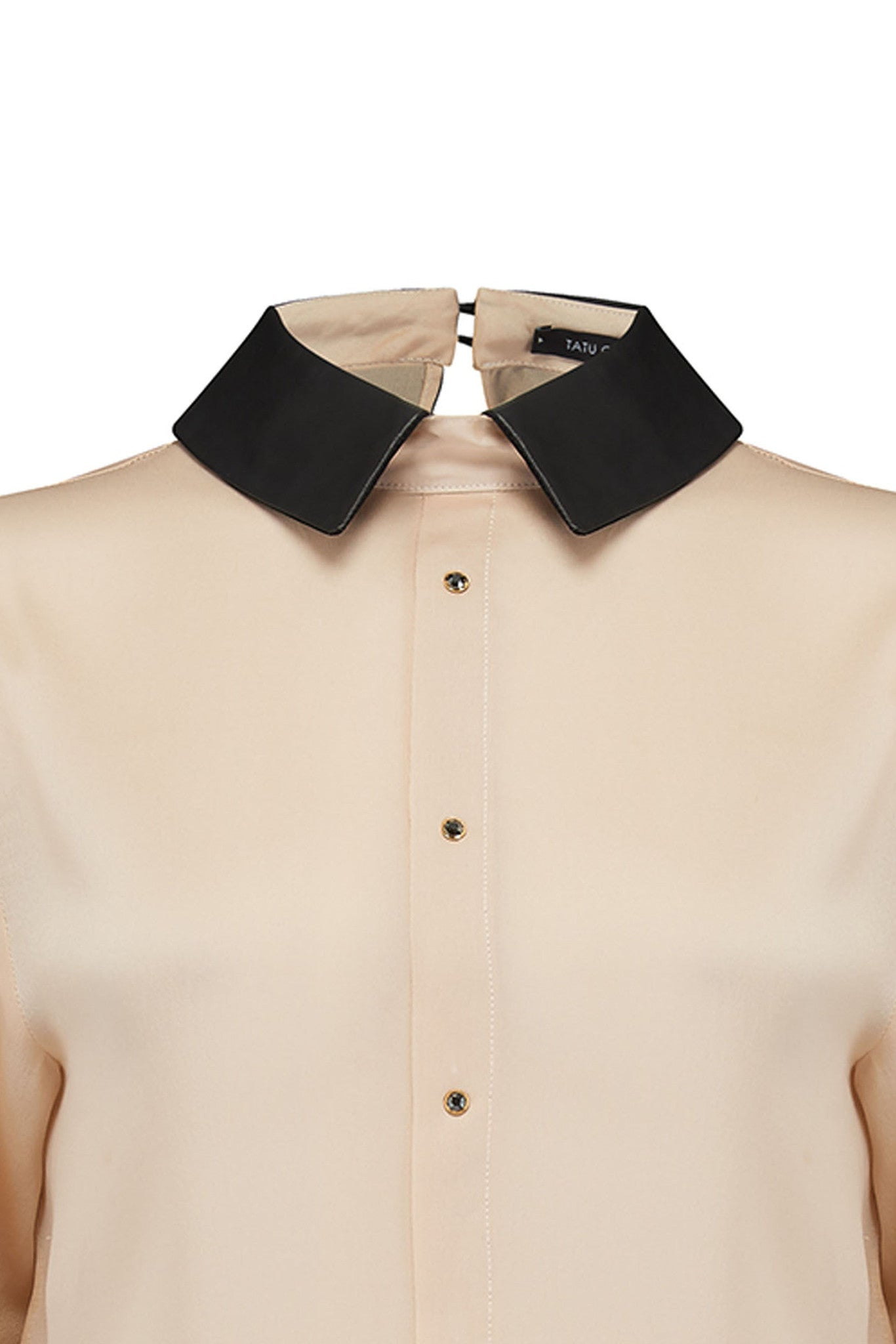 Lula Blush silk blouse bodysuit with contrast black collar detail and crystals
