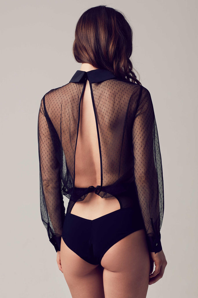 Nico sheer black bodysuit blouse with draped open back