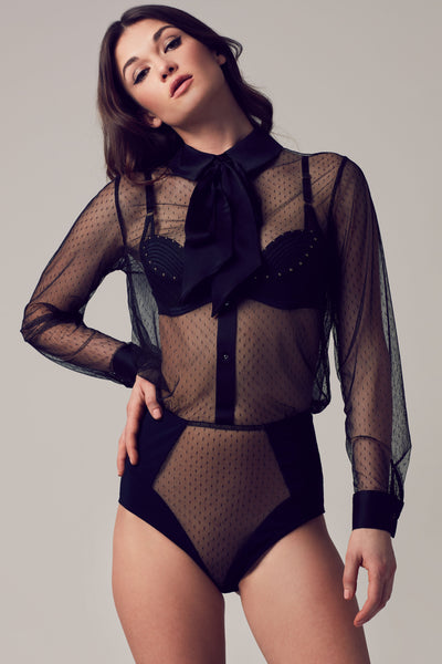 Nico sheer black bodysuit blouse with removable pussy bow