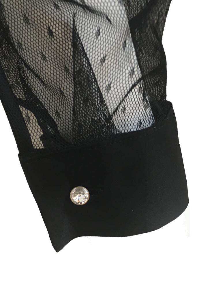 Nico luxury black bodysuit blouse crystal button cuff detail