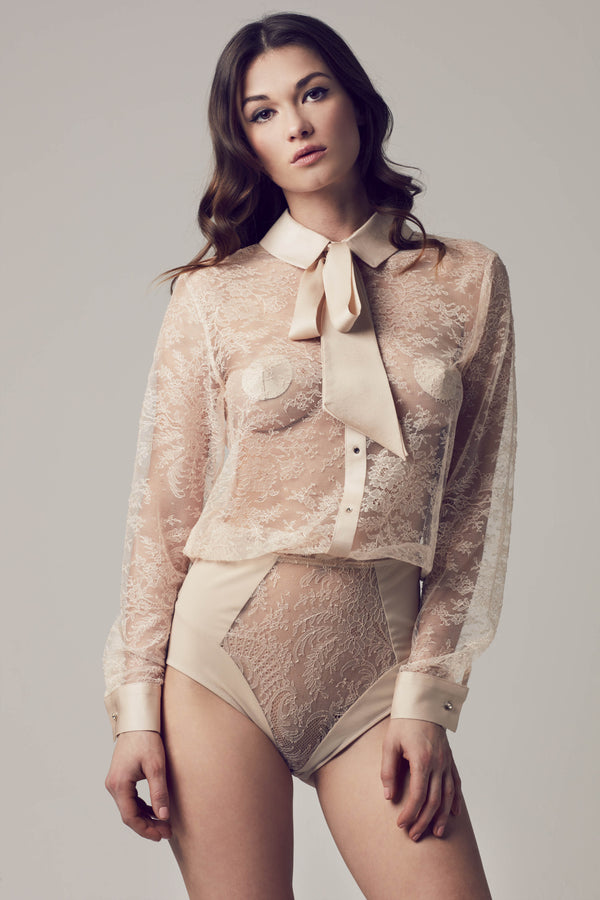 Melania pussy bow lace bodysuit blouse in luxury cream lace