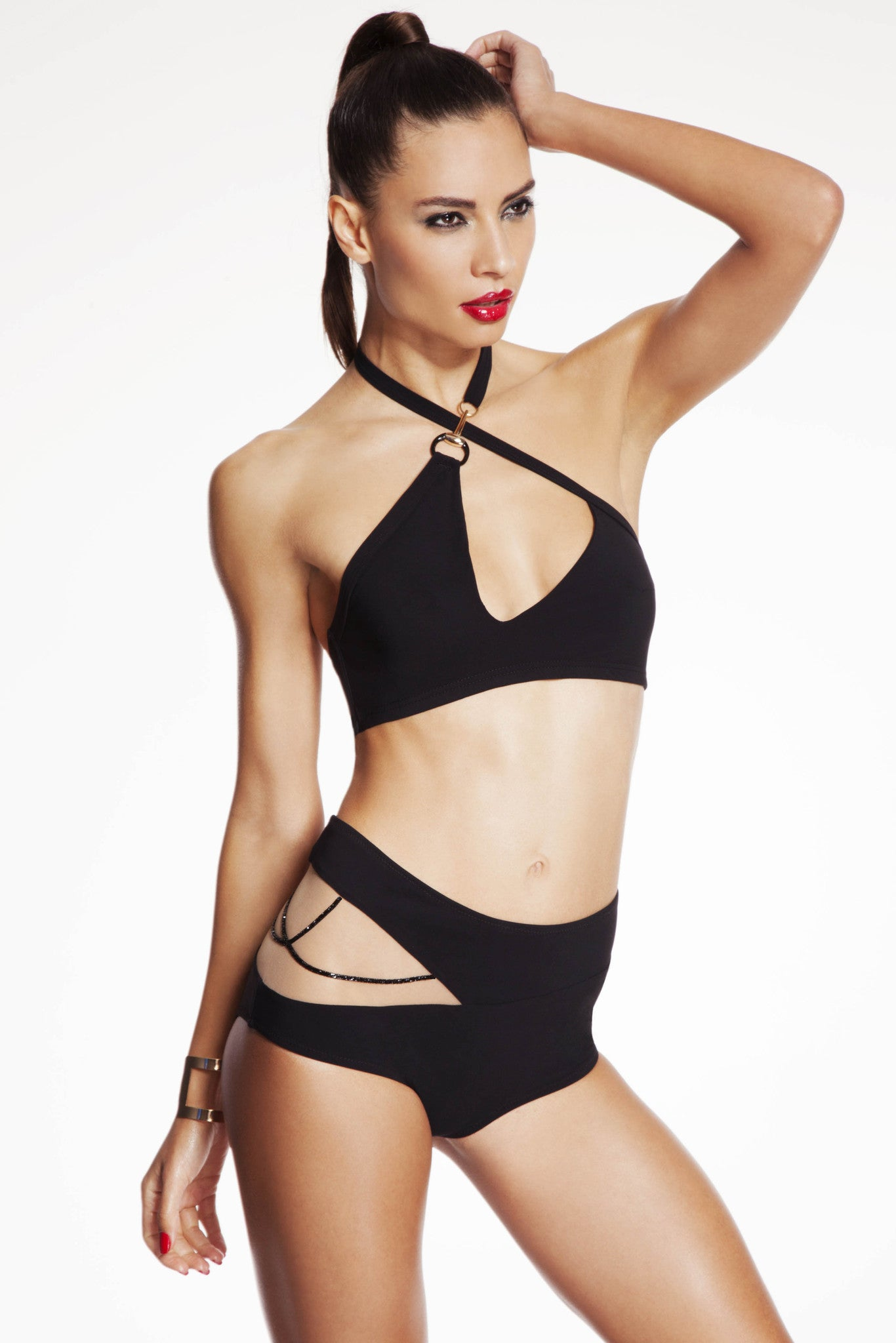 Nikita Bikini set featuring high waist brief and asymmetric bikini top.