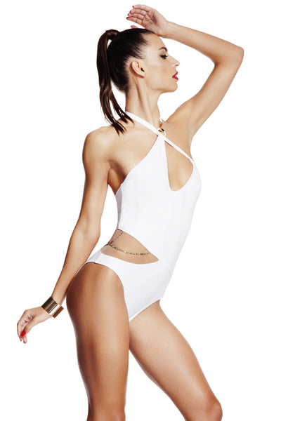 Nikita swimsuit in white by Tatu Couture. Front view on model showing Swarovski detail.