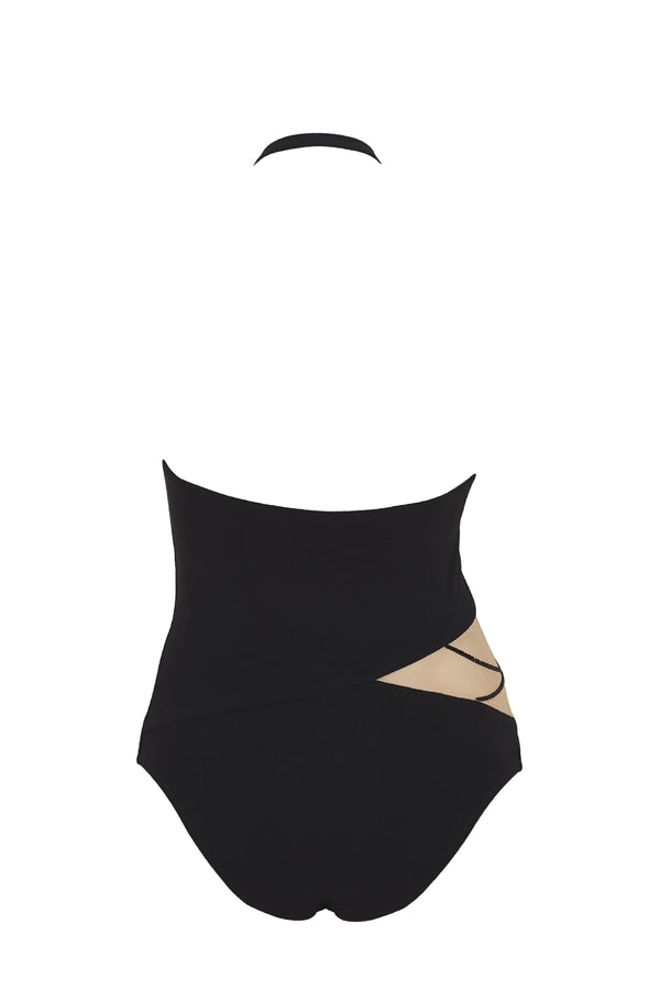 Designer black one piece swimsuit featuring Swarovski crystals