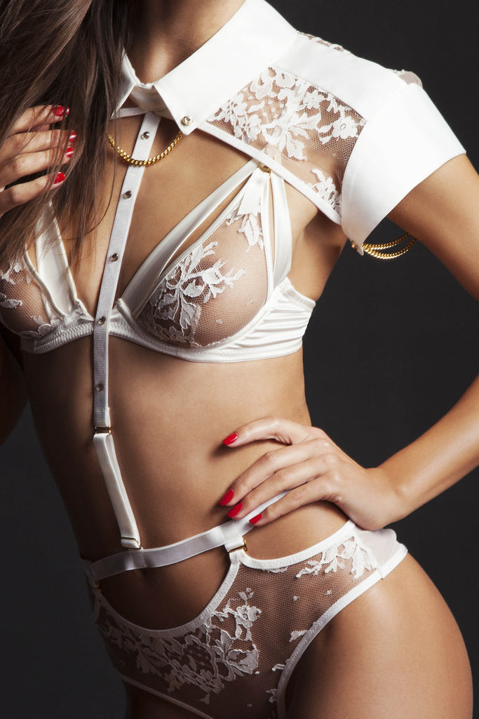 Nadya Collar and body harness with detachable lace thong | High end erotic lingerie
