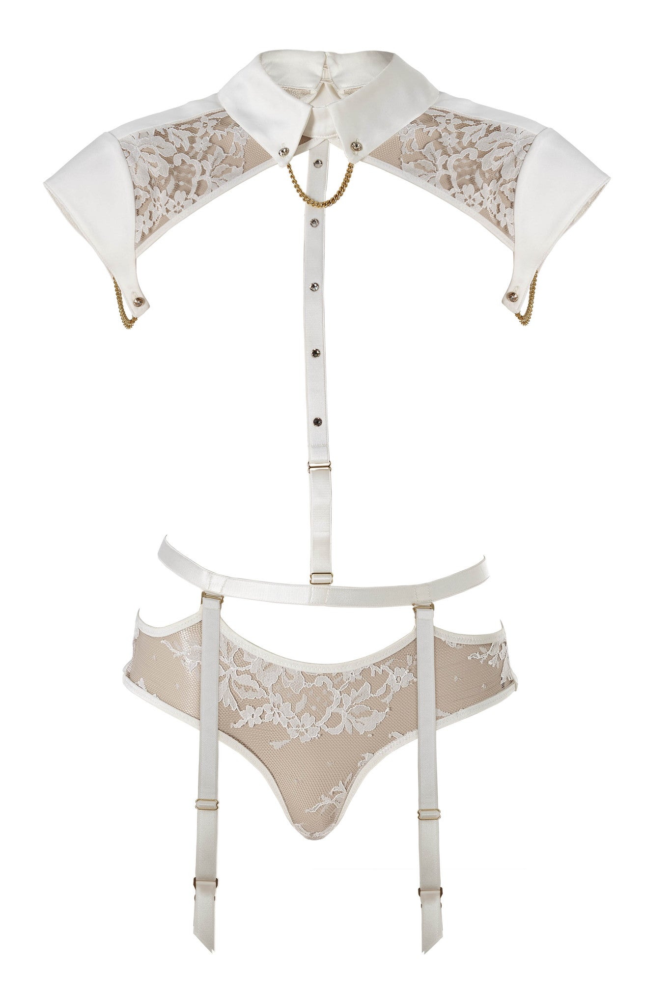 Nadya Collar & Thong (with detachable suspenders) by Tatu Couture. Front view on mannequin.