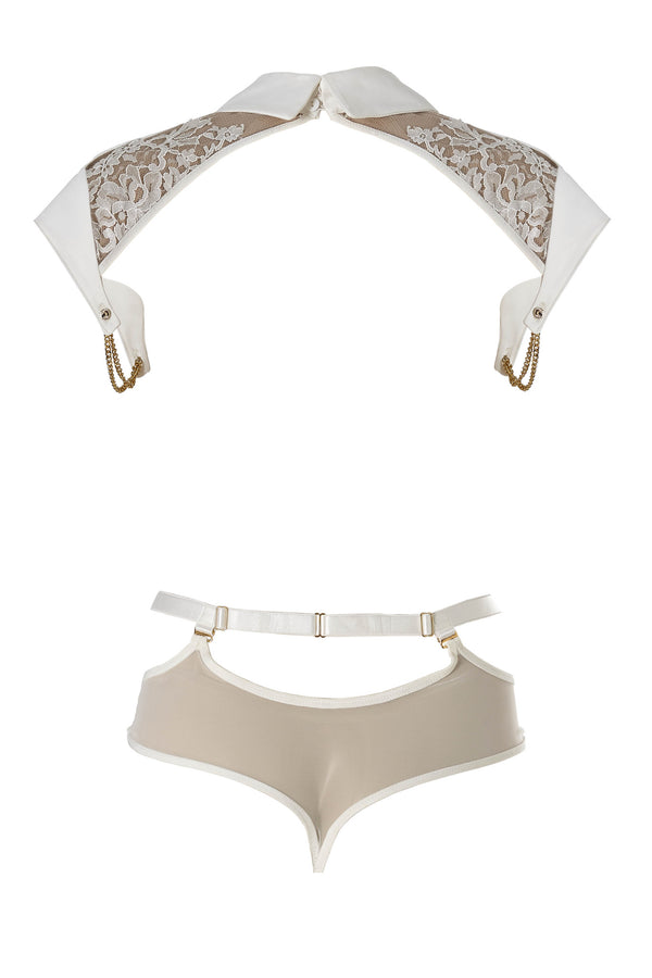 Nadya Collar and body harness with detachable sheer mesh thong | Luxury lingerie by Tatu Couture