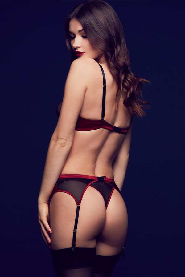 Tatu Couture luxury seductive lingerie in red and black, with sheer lace thong and garter belt