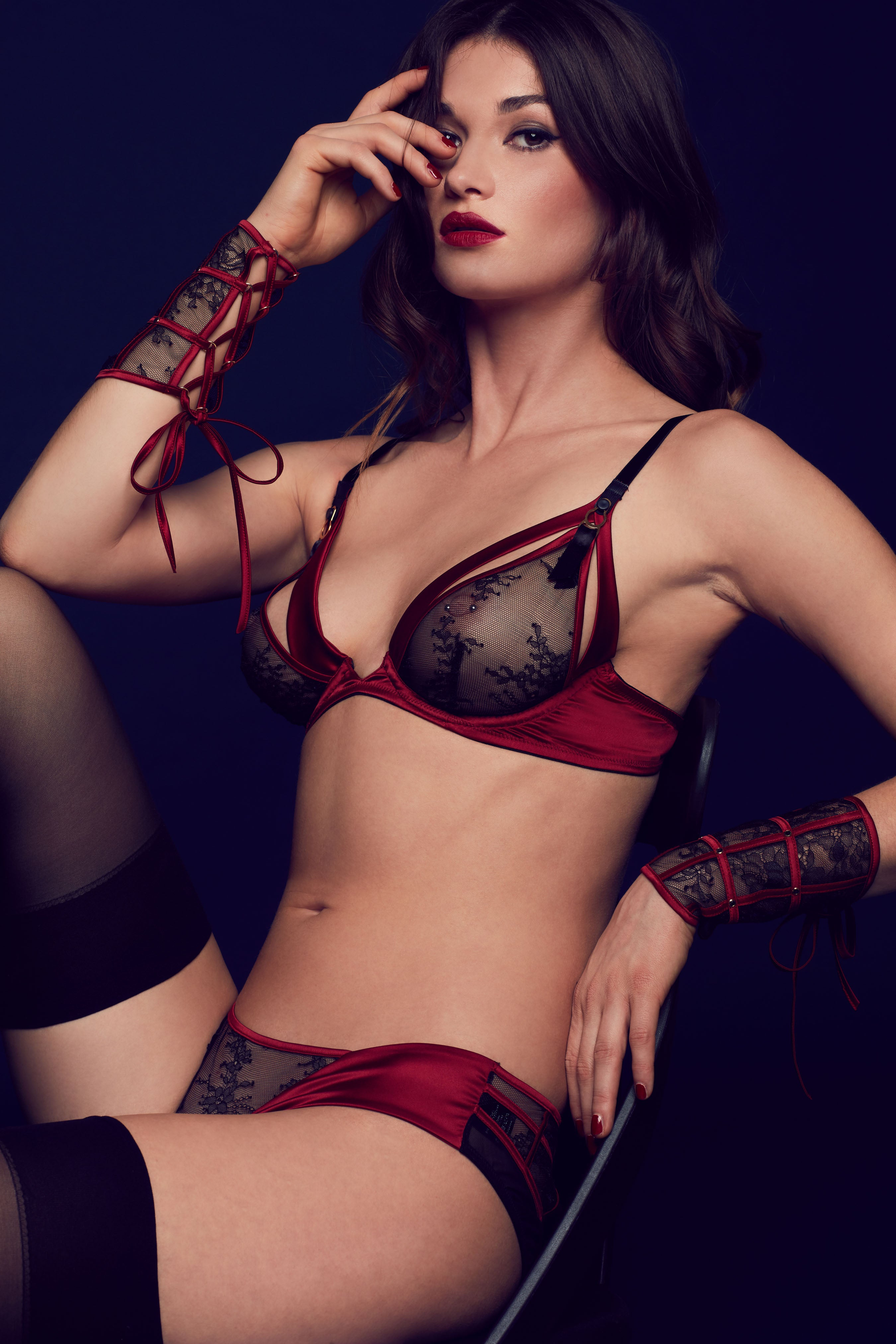 Luxury ouvert bra in sheer black lace and deep red satin, part of Odette high end seductive lingerie collection
