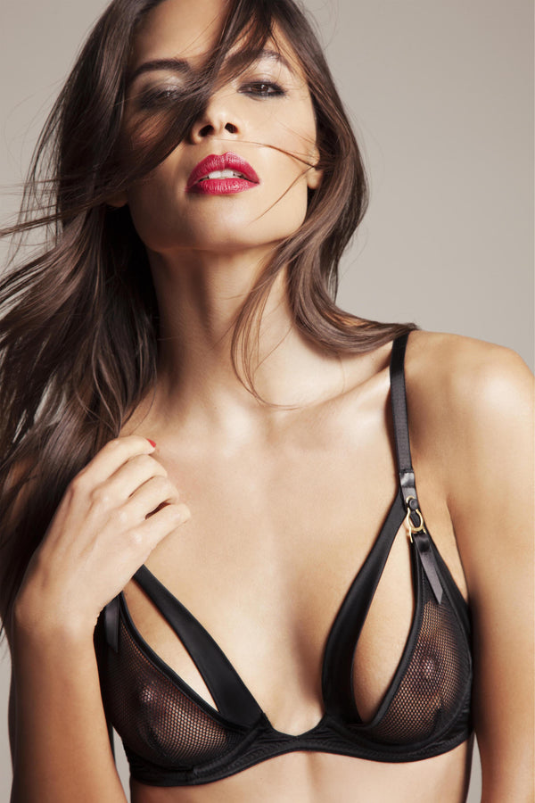 Luxury peep bra in sheer black lace and satin, high end erotic lingerie