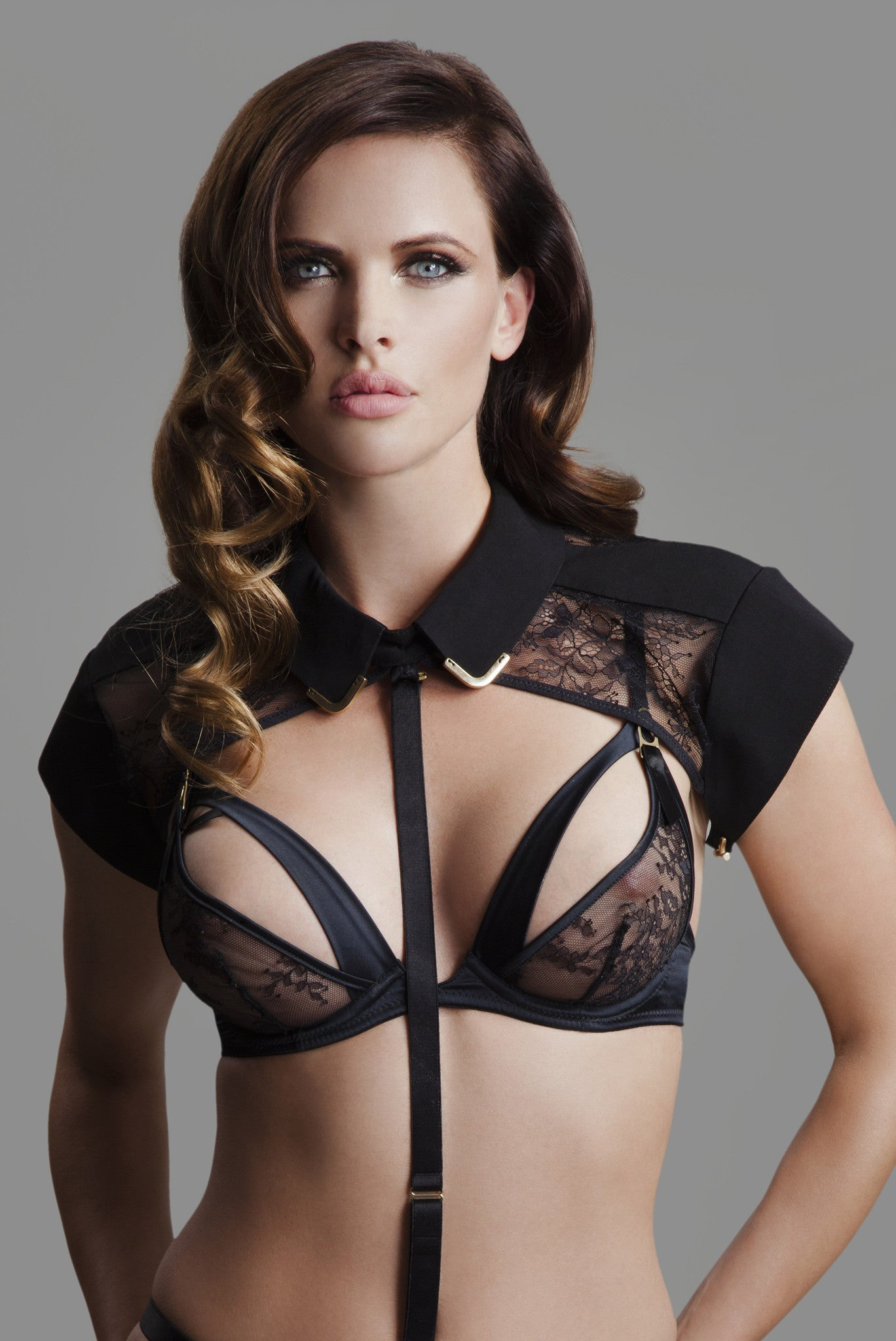 Sylvia Peep Bra in black lace with Josephine collar & body harness