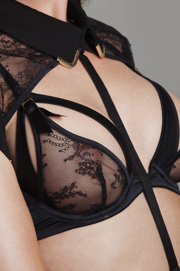Sylvia peep bra and body harness, high end erotic lingerie.