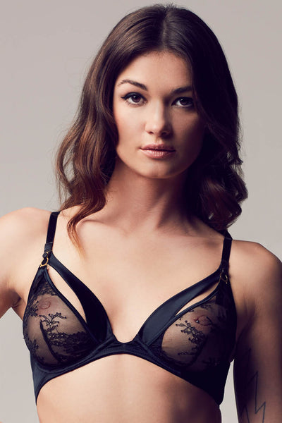 Sylvia luxury peep bra in sheer black lace and satin, high end erotic lingerie